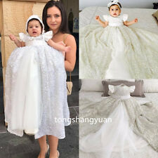 2017 Luxury Baptism Gown Outfit White Ivory Christening Long Dresses Sequin Bead