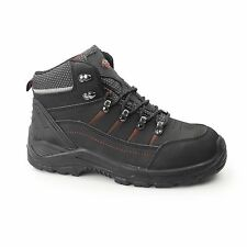 Mens Safety Boot S3 Nubuck Leather Steel Toe Work Safety Boots FLAME Black 7-12
