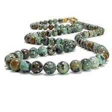 Mens African Turquoise Necklace 6mm or 8mm Gemstone Bead Brass