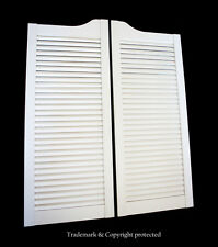 """WHITE CAFE DOOR 34""""W Pine LOUVERED Saloon Swinging Pub Bar Western with Hinges"""