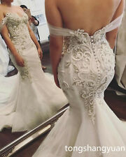 2017 Mermaid Lace Wedding Dresses Button Bridal Gowns Custom Size Off Shoulder
