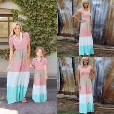 Family Dress Mother and Daughter Matching Striped Womens Girls Long Maxi Dresses