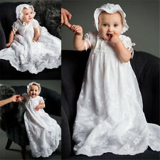 Elegant Baby Baptism Gowns Lace Christening Dresses White Ivory Newest +Bonnet