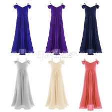 Flower Girl Princess Dress Chiffon Party Pageant Wedding Bridesmaid Off-shoulder