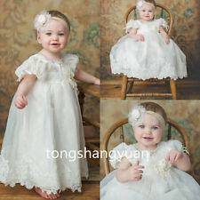 2017 Baptism Outfits Gown Lace Applique White Ivory Christening Ball Dress 0-24M