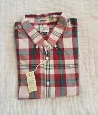 NEW MENS L XL J CREW SECRET WASH SHIRT IN RED AND WHITE PLAID CEDAR VALLEY F8051