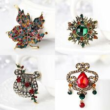Fashion Crystal Brooch Pins Jewelry Wedding Bride DIY Bouquet Gifts Gold Plated