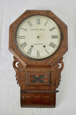 ANTIQUE C.1900 INLAID CASE TWO TRAIN DROP DIAL WALL CLOCK FOR SPARES/ REPAIR