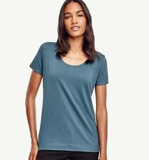 NWT Ann Taylor  Short Sleeve Scoop Neck Tee Top   Blue green  NEW