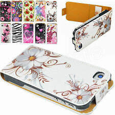 PU Leather Skin Card Flip Phone Accessories Case Cover For Apple IPhone 4 4G 4S