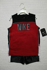 NEW BOYS NIKE 2 PIECE SET SHIRT AND SHORTS SPORTS OUTFIT NWT $40 RED BLACK WHITE