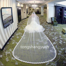 2017 New 1 T Bridal Veils Lace Applique Wedding Veils Cathedral + Comb 5 Meters