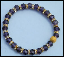 6 x 8mm PURPLE CRYSTAL GLASS BEADED GOLD STRETCH CHARM BRACELETS IN MIXED SIZES
