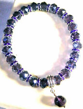 6 x 8mm PURPLE CRYSTAL GLASS BEADED PURPLE STRETCH CHARM BRACELETS MIXED SIZES