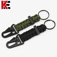 Outdoor Paracord Survival Kits Lanyard Keychain With Flintstone Clip Hook Tool