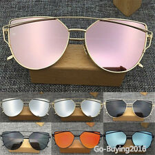 Women Retro Metal Frame Mirrored Sunglasses Oversized Cat Eye Glasses Eyewear