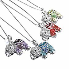 New Fashion Animal Elephant Crystal Pendant Necklace Chain Women Jewelry Party
