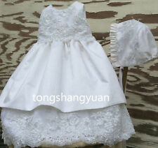 2017 Beads Baptism Outfits Dress White Ivory Christening Gown Sleeveless +Bonnet