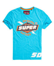 New Mens Superdry Reworked Classic T-Shirt Fluro Blue