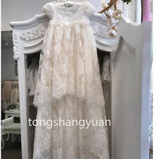 Lace Applique Baptism Gowns Outfit White Ivory Christening Long Dress 0-24 M New