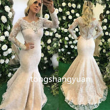 2017 Mermaid Wedding Dresses White Ivory Lace Applique Bridal Gown Button Custom