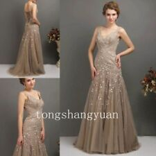 A-Line Mother Of The Bride Dresses Lace Crystal Formal Gowns Custom Size 6 8 12+