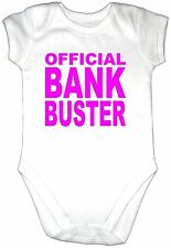 Funny OFFICIAL BANK BUSTER Baby Grow Clothes Vest Gro Girl Bodysuit PINK TexT