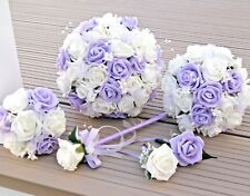 Wedding Flowers Lilac and Ivory Rose Bride Bouquet, Bridesmaid, Flowergirl wand