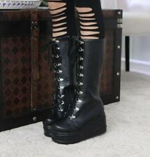 Women's Knee High Lace Up Platform Goth Punk Combat Military Boots Leisure Chic4