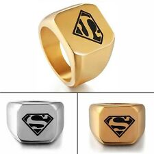 Fashion Ring Men's Punk Ring Size 8-12 Stainless Steel Superman Jewelry Band New