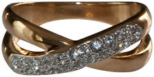 "JOSEPH ESPOSITO-14kt Gold Plate ""X"" Ring with Pave Crystal"