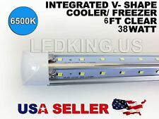 Integrated V-SHAPE 6ft 38W 6500K CLEAR COOLER/ FREEZER LED Tube Light T8 6 FT