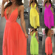 Womens Sling Chiffon Deep V Backless Sexy Cocktail Party Ball Gown Maxi Dress