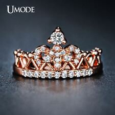 UMODE Exquisite Crown Shaped Ring Rose Gold Color CZ Rings for Women Fashion Col