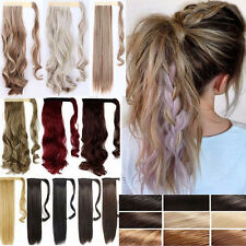 Clip In Ponytail Wrap Around Hair Extensions Long Ombre Brown Fake HairPiece N3k