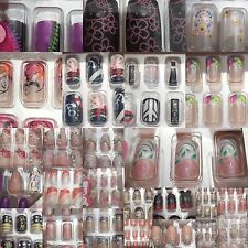 False Nails 12 Nails Art Various Designs and Colours Ladies Stones Glue Stick