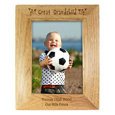 PERSONALISED GREAT GRANDCHILD WOODEN PHOTO FRAME 3 SIZES 6x4 5x7 10x8 BIRTHDAY