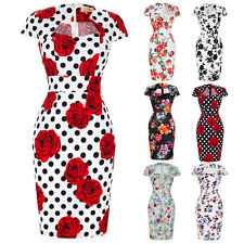 Women Floral 50s Vintage Style Retro Pin Up Cocktail Party Wiggle Pencil Dress ~
