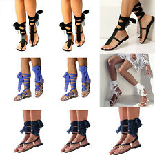 Women Roma Gladiator Strappy Knee High Boots Flat Flip Flops Sandal Summer Shoes