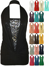 New Ladies Sleeveless Sequin Halter Neck Boob Tube Women Nice Ruched Stretch Top