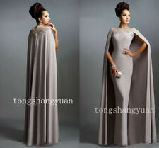 Fashion Long Mother Of Bride Dress With Cape Muslim Wedding Formal Evening Gowns
