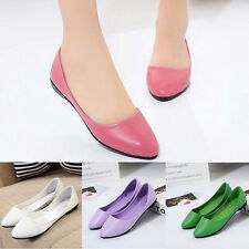 Womens Ladies Simple Pointed Casual Fashion Summer Flat Pumps Single Shoes Size