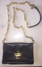 Authentic Tory Burch Black Clutch Purse With Gold Chain Shoulder Strap