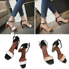 Women Block Heels Sandals Ladies Peep Toe Sandals Ankle Strap Buckle Party Shoes