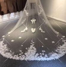 2T Lace Applique Bridal Wedding Veils Cathedral Veil+Comb Custom White Ivory New