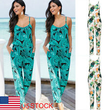 US 2-12 Womens Floral Print Sling Casual Summer Romper Jumpsuit Pants Trousers