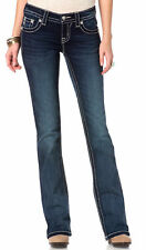 Miss Me Pastel Cross Dark Blue Bootcut Jeans JP7584B