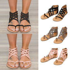 Ladies Women Flat Leather Ankle Strap Sandals Summer Gladiator Back Zipper Shoes