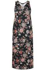YoursClothing Plus Size Womens Floral Print Jersey Maxi Dress V Neck Sleeveless