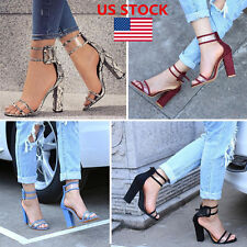 US Women's Peep Toe Thick Block Heels Sandals Summer Party Chunky Buckle Shoes
